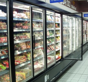 超市节能改造立风柜玻璃门